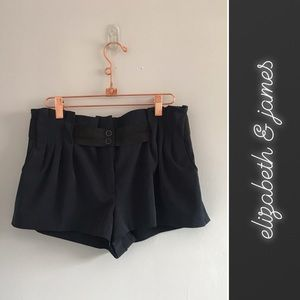 Elizabeth & James Navy High-Rise Mini Shorts